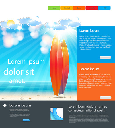 Website Holidays Template background with surfboard, easy all editable Vector