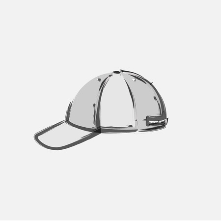 unisex: Baseball Cap Cartoon Hat Vector Illustration, easy all editable