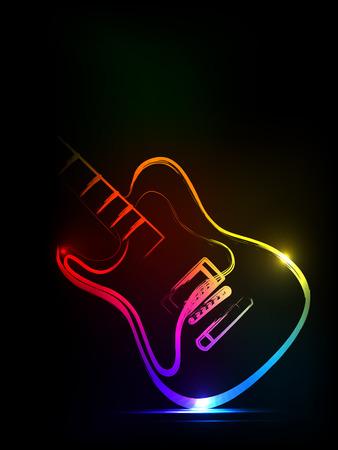 neon ink guitar,  easy all editable Illustration