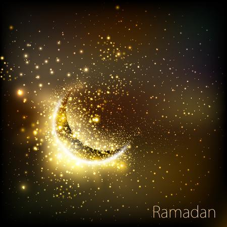 ramadan mubarak card: Muslim community golden cover of ramadan easy editable