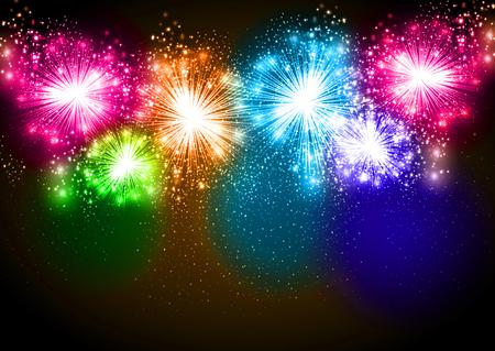 guy fawkes night: Vector fireworks realistici che esplodono nel cielo notturno