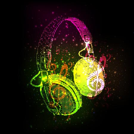 auriculares dj: Auriculares abstractos con nota