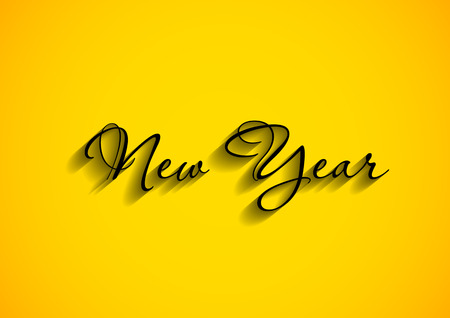 fonts year:  new year text on yellow background Illustration