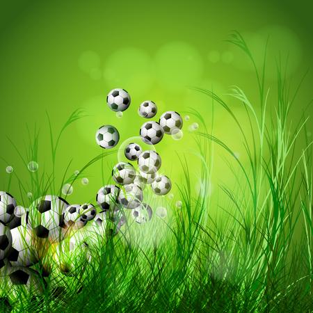 soccer background: Soccer ball on green grass background, easy all editable