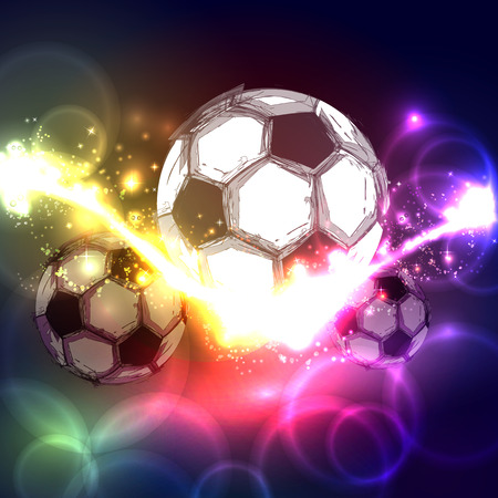 world cup: Soccer ball on a transparent abstract background Illustration