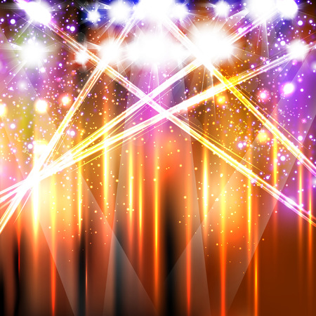neon light stage background, easy editable Illustration