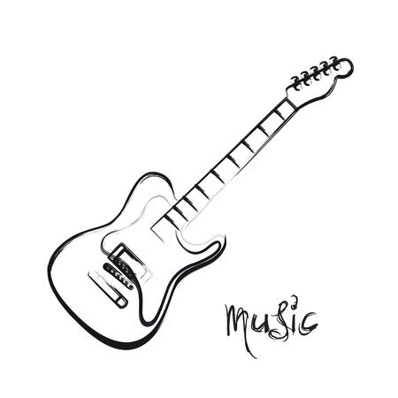 Electric Guitar hand drawn, easy all editable