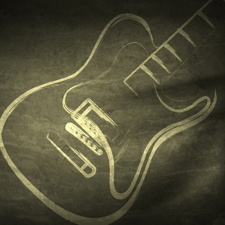 abstract music: Vector grunge guitar, grunge music   easy editable Illustration