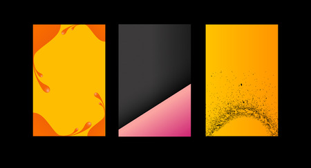 three colored: set of three colored business cards