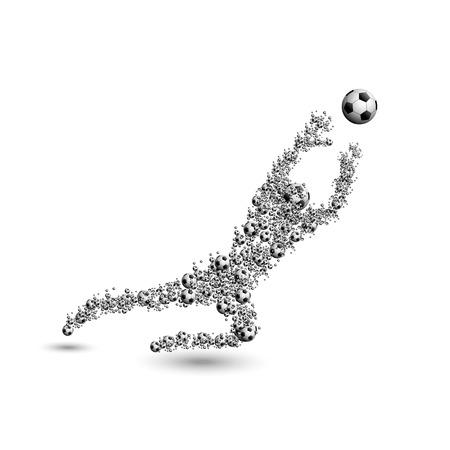 arquero de futbol: Portero del fútbol del fútbol con la bola