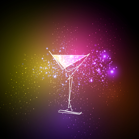 cocktail neon design menu background, easy all editable