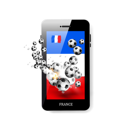 smart goals: Smartphone with flag of France and soccer ball easy all editable Illustration
