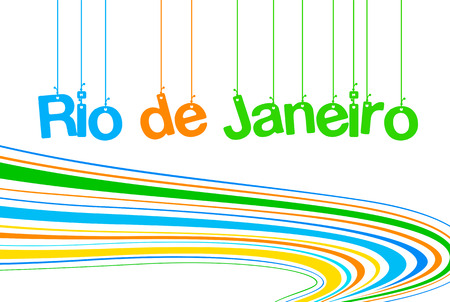 brazilian flag: Rio de Janeiro inscription background colors of the Brazilian flag Illustration