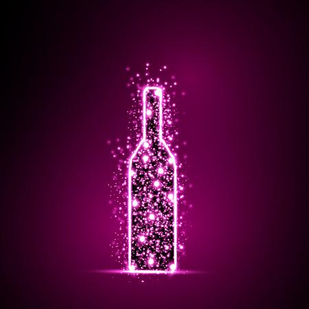 bottle wine: Wine Bottle light abstract design background, easy all editable