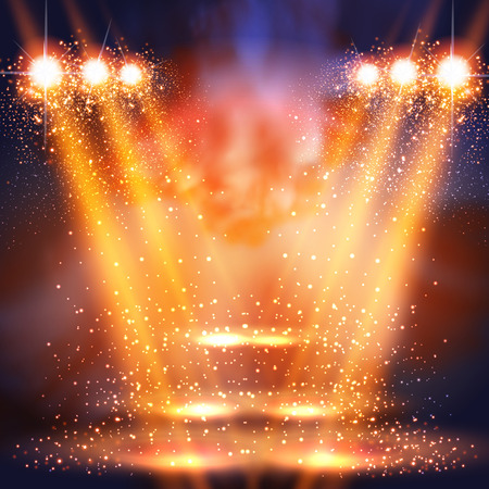 stage, light, spotlights shining in dark place background easy all editable