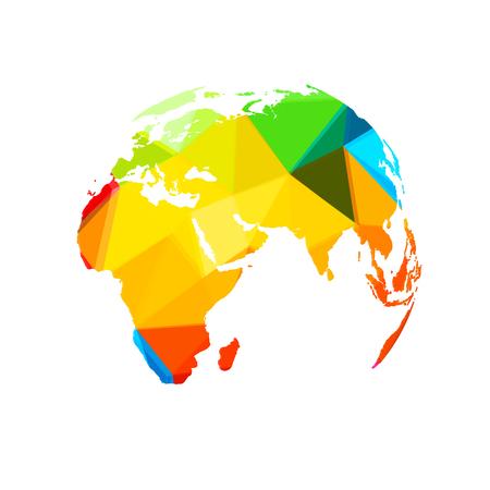 Polygon World map globe template easy all editable Illustration