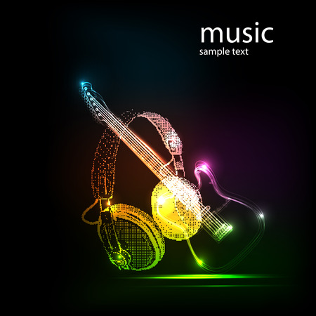 neon guitar with Headphones, grunge music  easy all editable