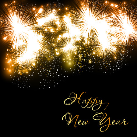 Happy New Year fireworks celebration background easy all editable
