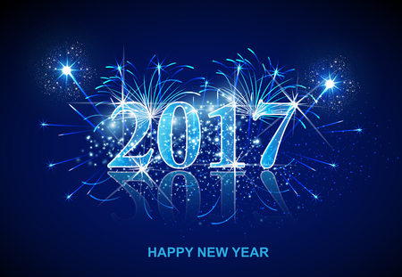 Happy New Year fireworks 2017 easy all editable Ilustrace