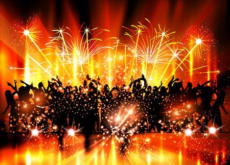 Party, Stage, Club, Nightlife, Fireworks, easy all editable Ilustrace