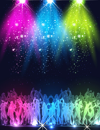 Party Stage, club, nightlife, fireworks background easy all editable Ilustrace