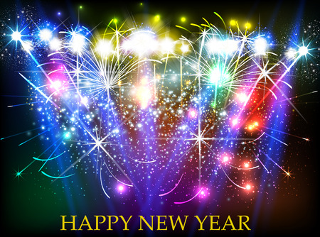 Happy New Year 2017 with fireworks background easy all editable