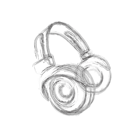 Grunge Headphones, easy all editable - vector illustration. Illustration