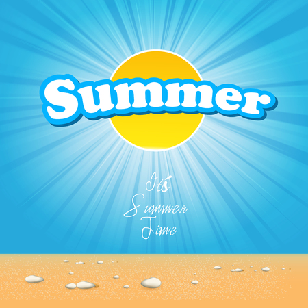 beautiful summer cover with sun sunlight poster flyer label