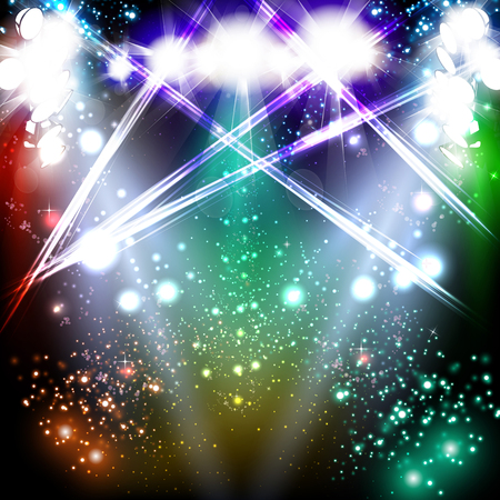 theatrical performance: Banner neon light stage background - vector illustration.