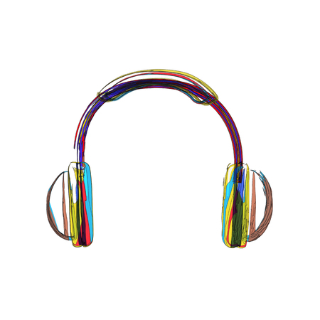 Headphones lines color easy editable Çizim