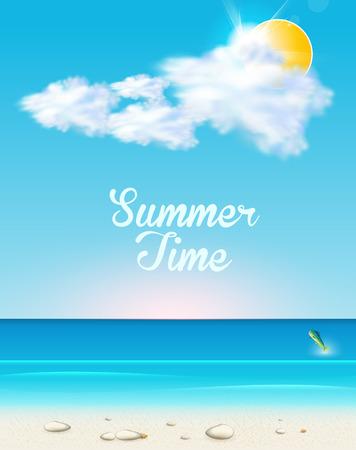 summer seaside view  easy editable
