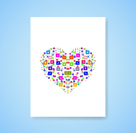 magazine design: heart template design with social network icons background Illustration