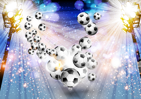 Football background soccer background with light easy editable Ilustrace