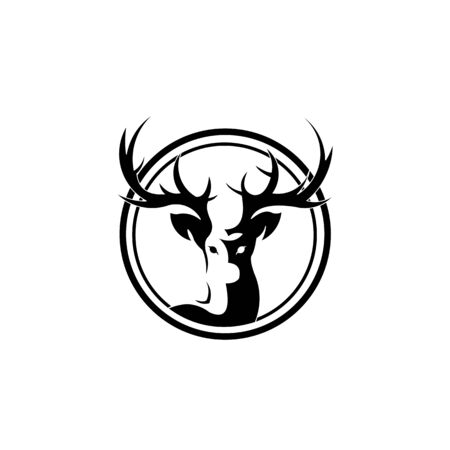 deer logo designs inspirations, hunting club logo,Graceful Deer emblem, illustration, logotype - deer gracefully lifted his leg and proudly looks up Ilustração