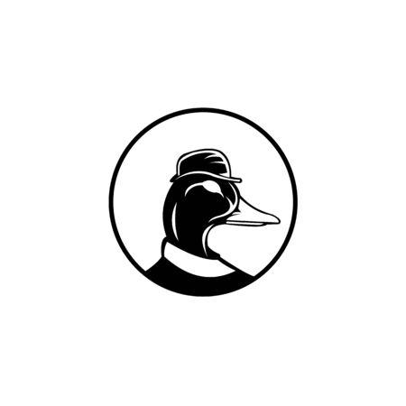 inspiration cartoon duck wearing top hat,logo vector cartoon duck wearing top hat