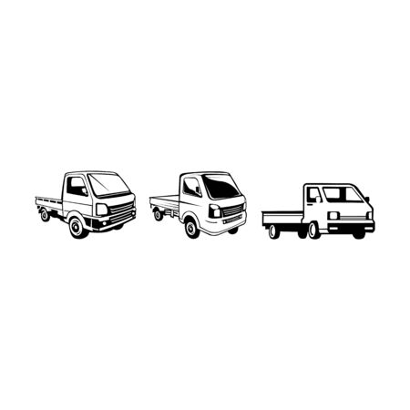 Pickup truck vector icon on white background,pickup truck icon symbol sign from modern transportation collection,logo mini truck