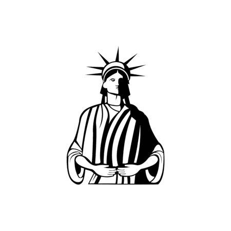 Liberty logo - vector illustration,Mascot of Libertas or Lady Liberty, the Roman goddess and embodiment of liberty wearing a crown