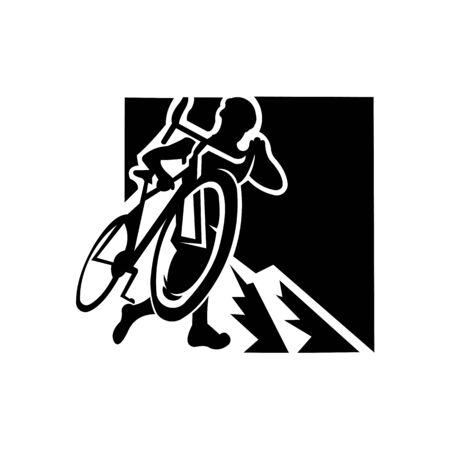 inspiration logo Mountain bike cycling, mtb, isolated vector silhouette.