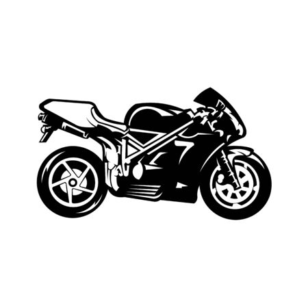 motorcycle racing logo vector,Racing motorcycle logo on black background. Super bike vector monochrome emblem.