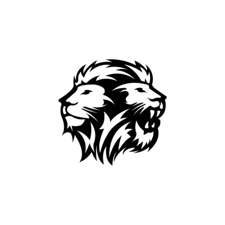 Lion Head Logo Design Vector, Silhouette of Lion,head two lion  Vector illustration 일러스트