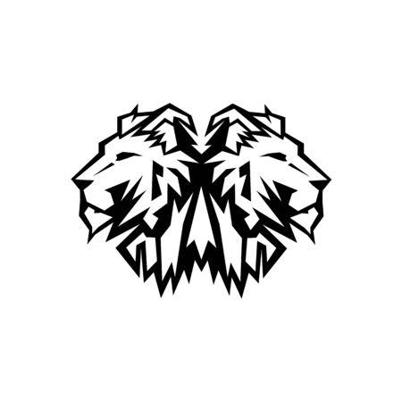 Lion Head Logo Design Vector, Silhouette of Lion,head two lion  Vector illustration 向量圖像
