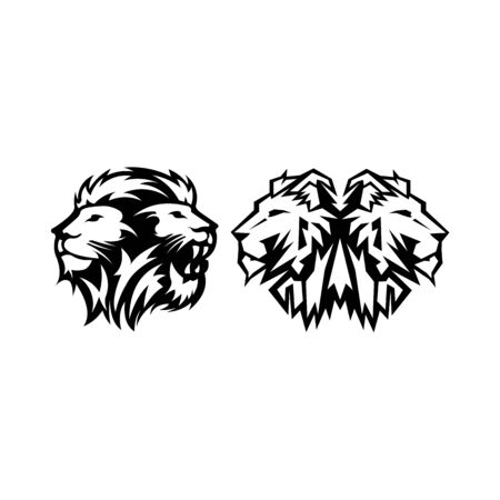 Lion Head Logo Design Vector, Silhouette of Lion,head two lion Vector illustration Logo