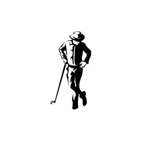 Jugador de golf golpea la bola de inspiración Vector de diseño de logotipo Club de golf, golfista de hombre