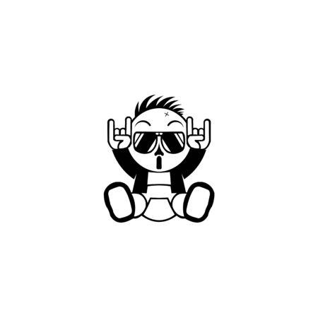 Roca en símbolo de gesto, Ilustración de vector de gesto de mano de heavy metal, mano de metal de bebé