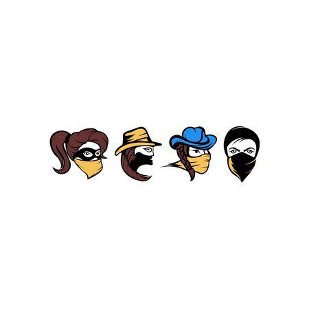 vector mujer bandida, una chica bandida con bandana, una chica bandida con un sombrero de vaquero con pelo largo