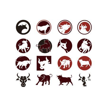 Logo de taureau, silhouette d'un taureau, vecteur de taureau, inspiration de logo de buffle Logo
