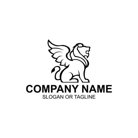 Lion with wings icon, Winged leo, logo template,inspiration  Vector illustration. Illustration