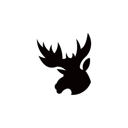 Horned Animals Silhouette Collection Deer Stag Moose Caribou Stok Fotoğraf - 134107466
