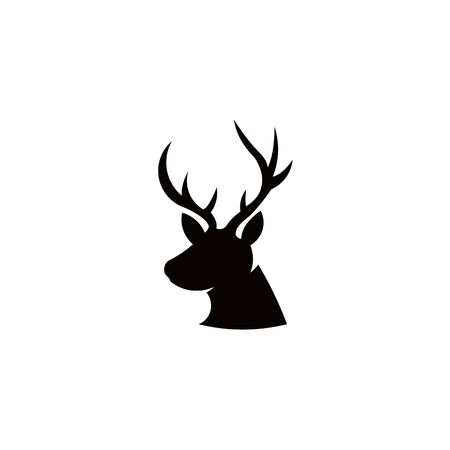 Horned Animals Silhouette Collection Deer Stag Moose Caribou Stok Fotoğraf - 134107640