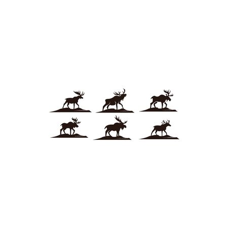 Horned Animals Silhouette Collection Deer Stag Moose Caribou Stok Fotoğraf - 134110019